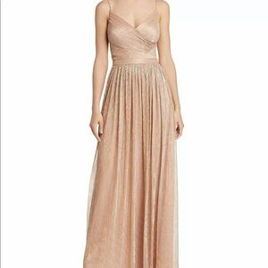 Laundry by Shelly Segal Metallic Rose Gold Gown